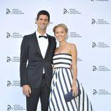 Novak Djokovic y Jelena Ristic en una cena solidaria de la Fundación Novak Djokovic
