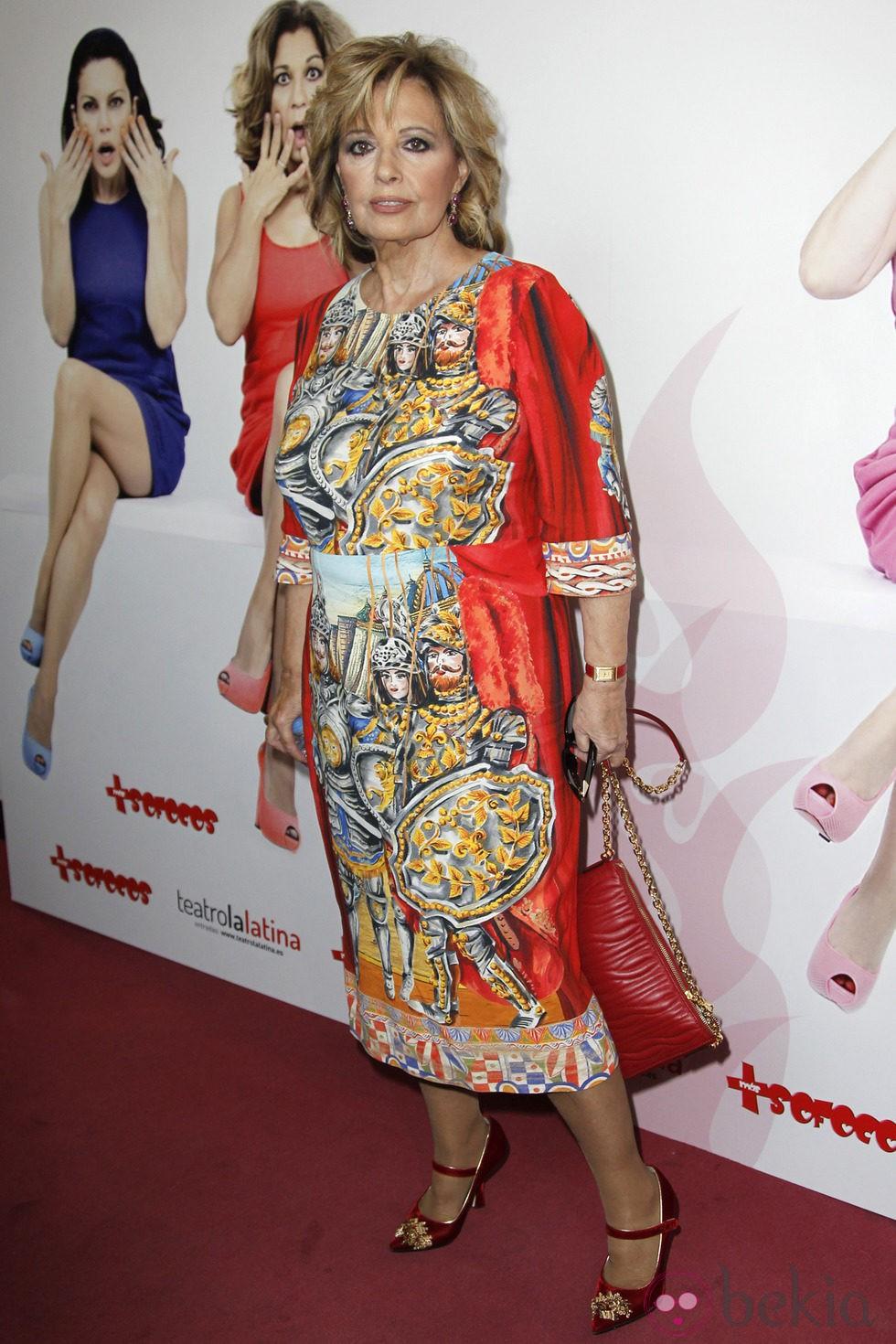 María Teresa Campos en la presentación de la obra de teatro 'Más sofocos' en Madrid