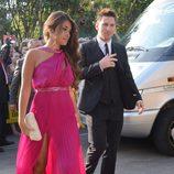 Leo Messi y Antonella Rocuzzo en la boda de Xavi Hernández y Nuria Cunillera