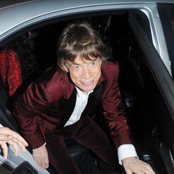 Mick Jagger llegando a la celebración de su 70 cumpleaños
