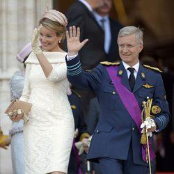 Felipe y Matilde de Bélgica a su llegada a la catedral de San Miguel y Santa Gúdula de Bruselas