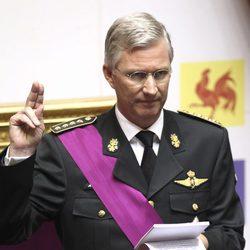 Felipe de Brabante en su juramento como nuevo Rey de Bélgica