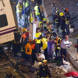 Descarrilamiento de un tren en Santiago de Compostela