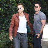 Lance Bass y su novio Michael Turchin a su llegada al baby shower de la cantante Fergie