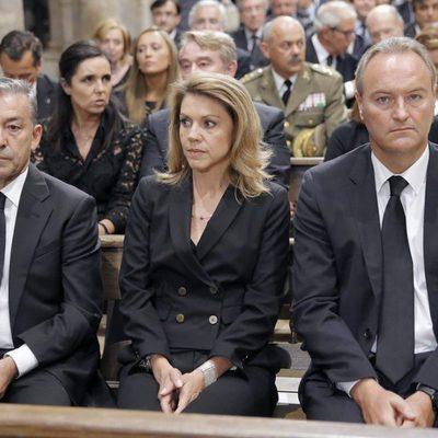 Paulino Rivero, María Dolores de Cospedal y Alberto Fabra en el funeral por las víctimas del tren de Santiago