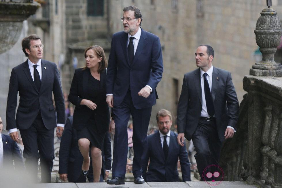 Alberto Núñez Feijoo, Elvira Fernández y Mariano Rajoy en el funeral por las víctimas del tren de Santiago