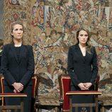 La infanta Elena, la princesa Letizia y el príncipe Felipe en el funeral por las víctimas del tren de Santiago