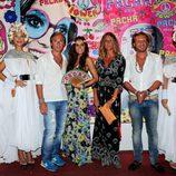 Israel Bayón, Cristina Sainz, Natalia Álvarez y Juan Peña en la fiesta Flower Power de Ibiza 2013