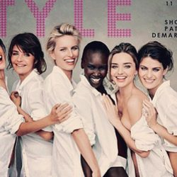 Miranda Kerr, Alek Wek, Alessandra Ambrossio, Helena Christensen, Isabeli Fontana y Karolina Kurkova posando para el Calendario Pirelli 2014