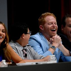 Sofia Vergara, Rico Rodriguez, Jesse Tyler Ferguson y Eric Stonestreet en la lectura del primer capítulo de la quinta temporada de 'Modern Family'