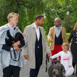 Marius Borg, Haakon, Ingrid y Marta Luisa de Noruega y Ari Behn en el 40 cumpleaños de Mette-Marit de Noruega