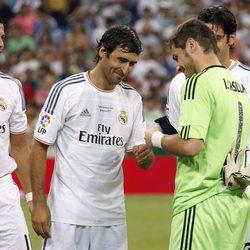 Cristiano Ronaldo, Iker Casillas y Raúl González en el Trofeo Santiago Bernabéu 2013