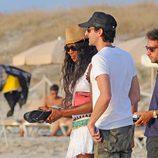 Naomi Campbell y Adrien Brody disfrutando de la playa de Formentera