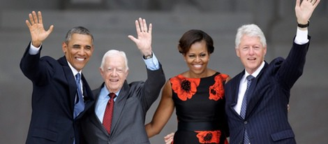 Barack Obama, Jimmy Carter, Michelle Obama y Bill Clinton conmemorando a Martin Luther King