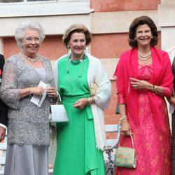 La Princesa Cristina, Sonia de Noruega y Silvia de Suecia en la boda de Gustaf Magnusson y Vicky Andren