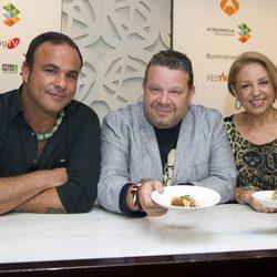 Ángel León, Chicote y Susi Díaz en la presentación de 'Top Chef' en el FesTVal de Vitoria 2013