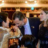 Los Príncipes de Asturias saludan a Takamado de Japón en la gala inaugural del 125 congreso del COI en Buenos Aires