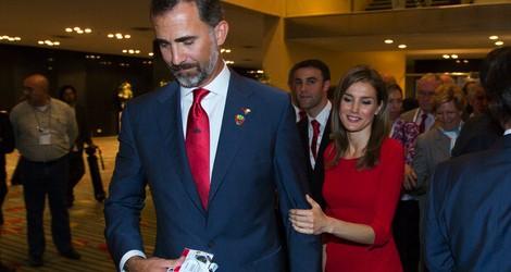 Los Príncipes de Asturias tras la presentación final de Madrid 2020 ante el COI