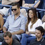 Eva Longoria y Ricky Martin en las gradas del US Open de tenis femenino