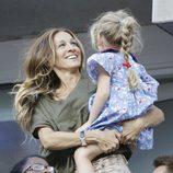 Sarah Jessica Parker con su hija en el US Open de tenis femenino