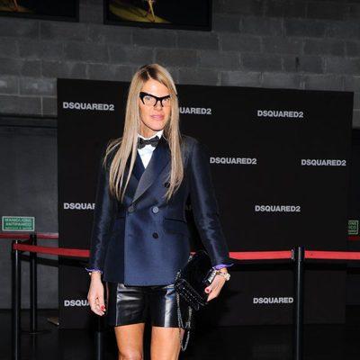 Anna Dello Russo en el desfile primavera/verano 2014 de Dsquared2 en Milan Fashion Week