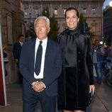 Giorgio Armani con su sobrina Roberta Armani en un cóctel de Milan Fashion Week