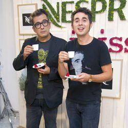 Andreu Buenafuente y Berto Romero en un acto promocional de una marca de cafeteras