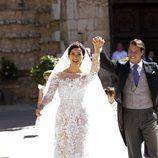 Félix de Luxemburgo y Claire Lademacher, eufóricos tras su boda religiosa