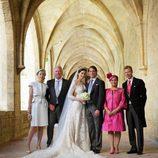 Félix de Luxemburgo y Claire Lademacher posan con sus padres el día de su boda