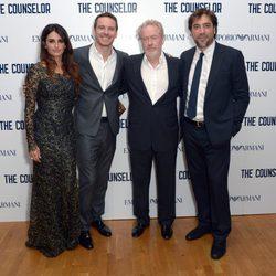 Penélope Cruz, Michael Fasbender, Ridley Scott y Javier Bardem tras el estreno de 'El Consejero' en Londres