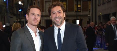 Michael Fassbender y Javier Bardem en el estreno de 'El Consejero' en Londres