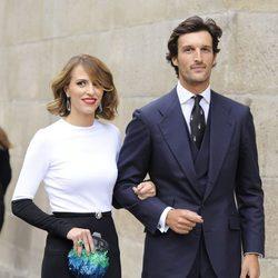 Rafa Medina y Laura Vecino en la boda del torero Miguel Ángel Perera y Verónica Gutiérrez
