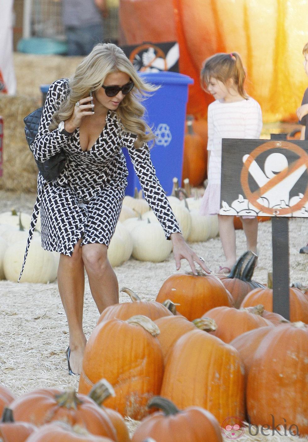 Paris Hilton seleccionando calabazas en el Mr. Bones Pumpkin Patch de Los Angeles