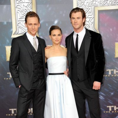Tom Hiddleston,Natalie Portman y Chris Hemsworth en la premiere de 'Thor: El mundo oscuro' en Berlín