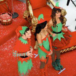 Lea Michele junto a sus compañeros Naya Rivera y Chris Colfer