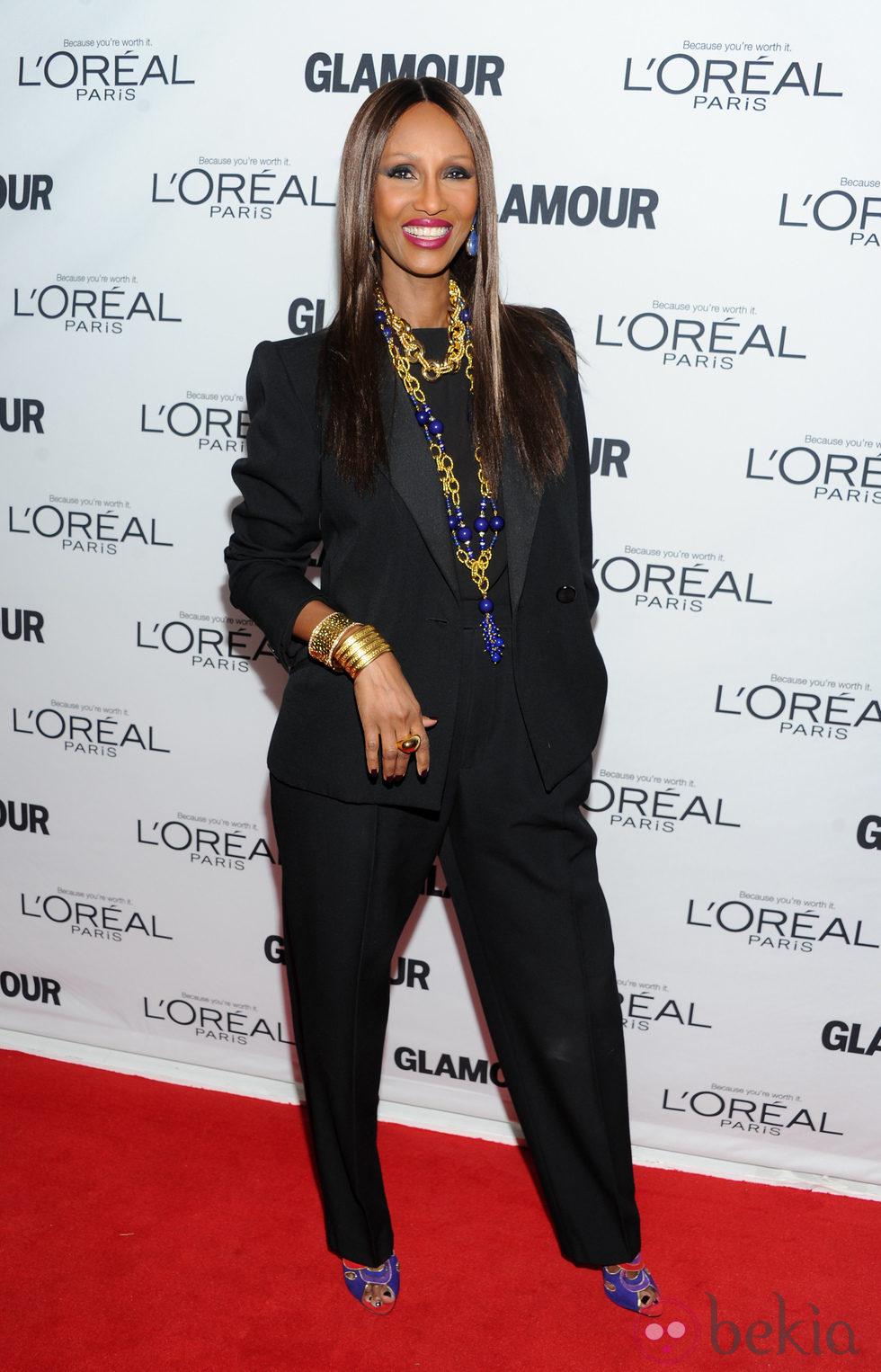Iman en los premios Glamour Mujer del Año 2013 en Nueva York