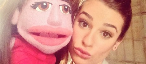 Lea Michele con su teleñeco