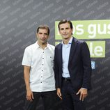 Los pilotos Marc Gené y Pedro Martínez de la Rosa en la presentación de la nueva temporada de LaSexta
