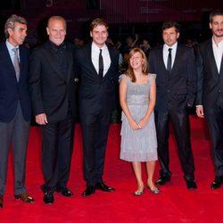 Reparto de la película 'Eva' en el estreno de la Mostra de Venecia