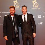 Sergio Ramos y su hermano René en los Premios de la Liga Profesional de Fútbol 2013