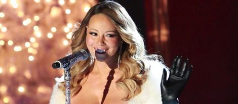 Mariah Carey en el encendido de luces de Navidad de Rockefeller Center