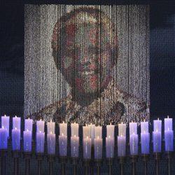 Fondo del escenario donde se celebró el funeral de Nelson Mandela en Qunu