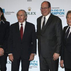 Carolina de Mónaco, Jackie Stewart, Alberto de Mónaco y Roman Polanski en el estreno de 'Weekend of a champion'