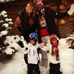 Mariah Carey y Nick Cannon junto a sus hijos en Aspen