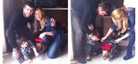 Gerard Piqué y Shakira enseñan el Tío de Nadal a Milan