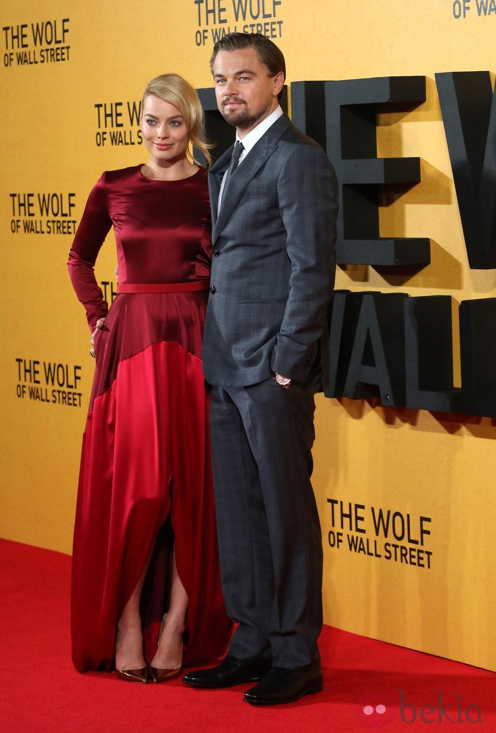Leonardo DiCaprio y Margot Robbie en la premiere de 'El lobo de Wall Street' en Londres