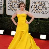 Lena Dunham en la alfombra roja de los Globos de Oro 2014