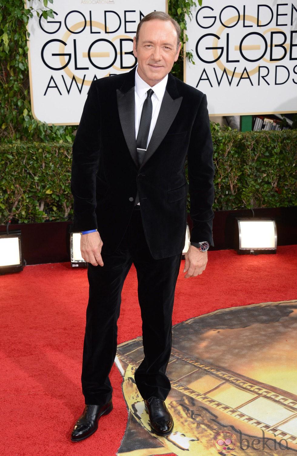 Kevin Spacey en la alfombra roja de los Globos de Oro 2014