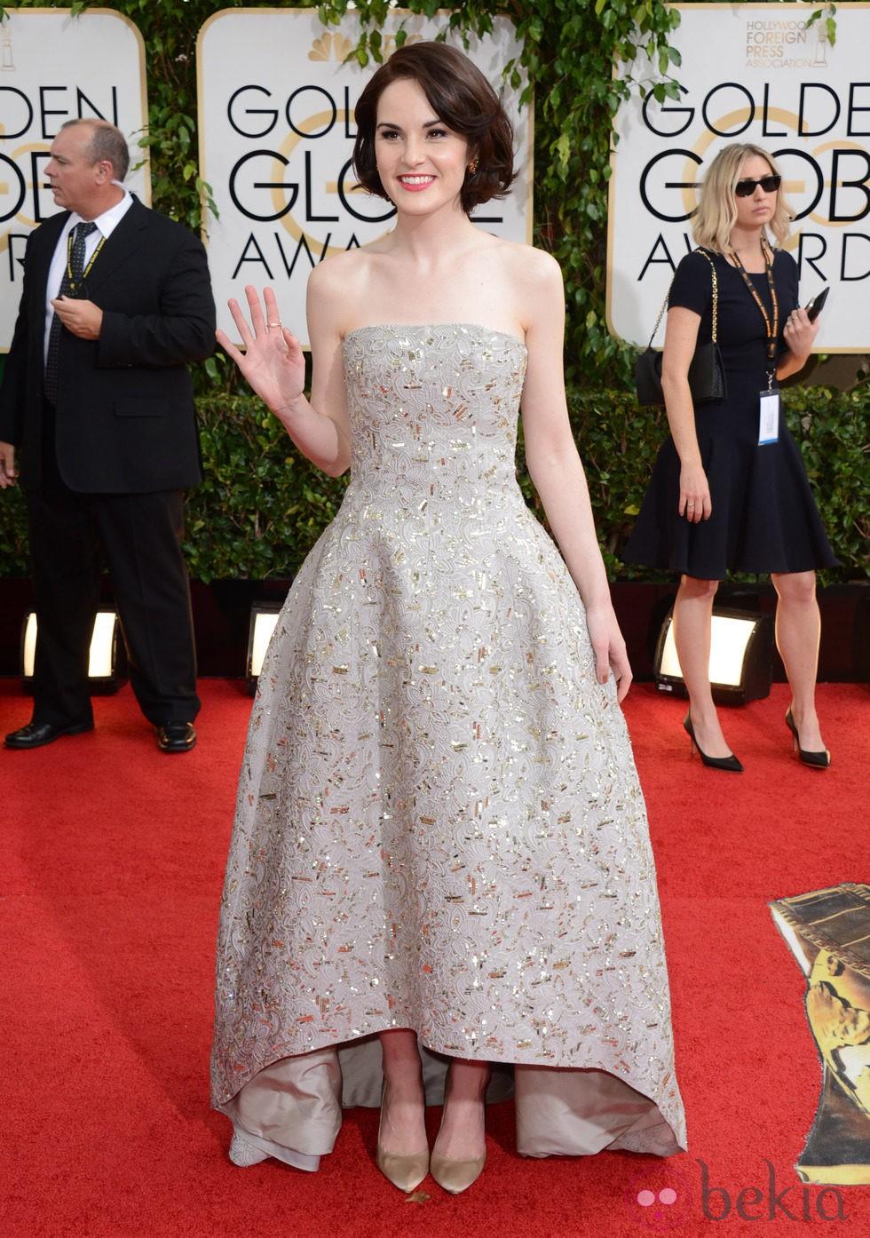 Michelle Dockery en la alfombra roja de los Globos de Oro 2014