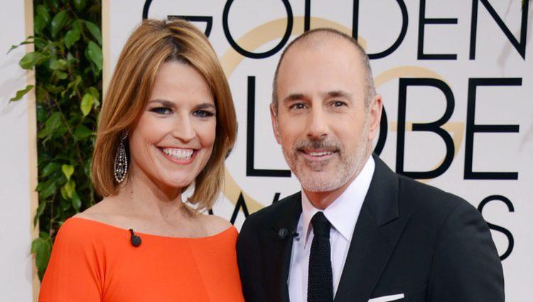 Matt Lauer y Savannah Guthrie en la alfombra roja de los Globos de Oro 2014